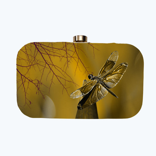 Fabulloso Golden Dragonfly Box Clutch