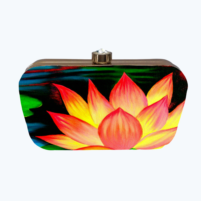 Fabulloso Fiery Lotus Box Clutch
