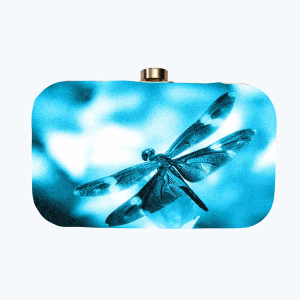 Fabulloso Blue Dragonfly Box Clutch