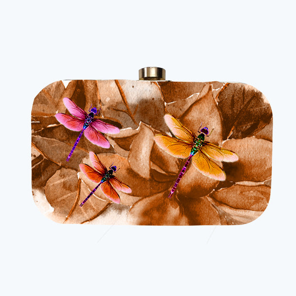 Fabulloso Pink & Gold Dragonfly Box Clutch