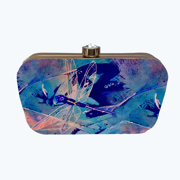 Fabulloso Purple Dragonfly Box Clutch