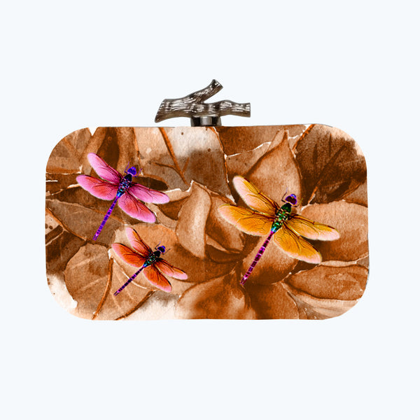 Fabulloso Ochre Dragonfly Box Clutch