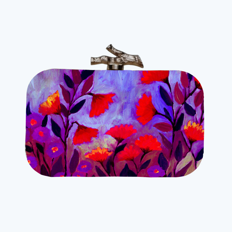 Fabulloso Purple Floral Box Clutch