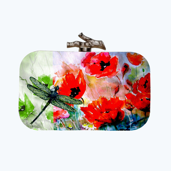 Fabulloso Orange Dragonfly Box Clutch