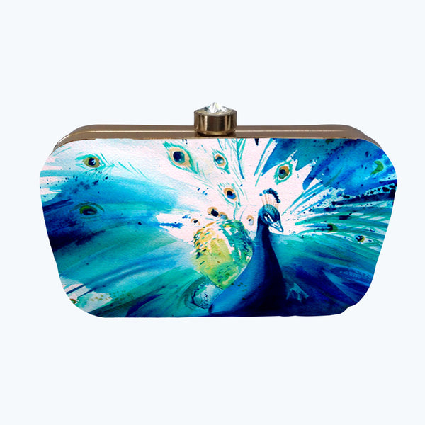 Fabulloso Blue Peacock Box Clutch