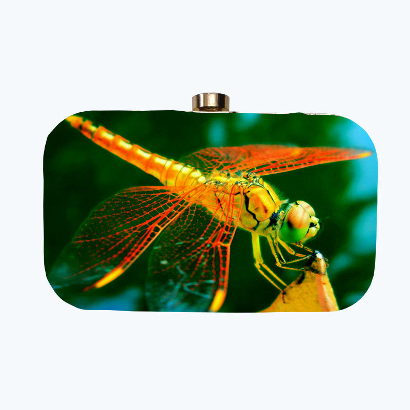Fabulloso Ink Blue Dragonfly Box Clutch