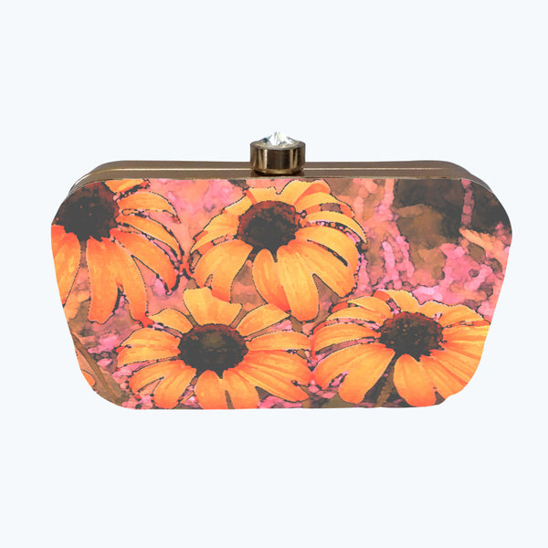 Fabulloso Peach Floral Box Clutch