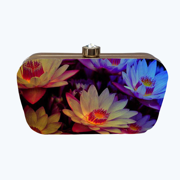 Fabulloso Purple & Yellow Floral Box Clutch