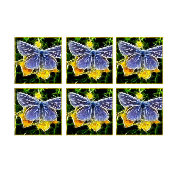 Leaf Designs Yellow & Blue Butterfly Coaster - Set Of 6