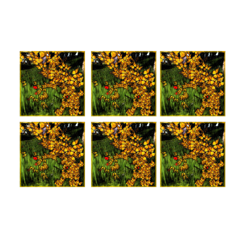 Leaf Designs Yellow Flowers Coaster - Set Of 6
