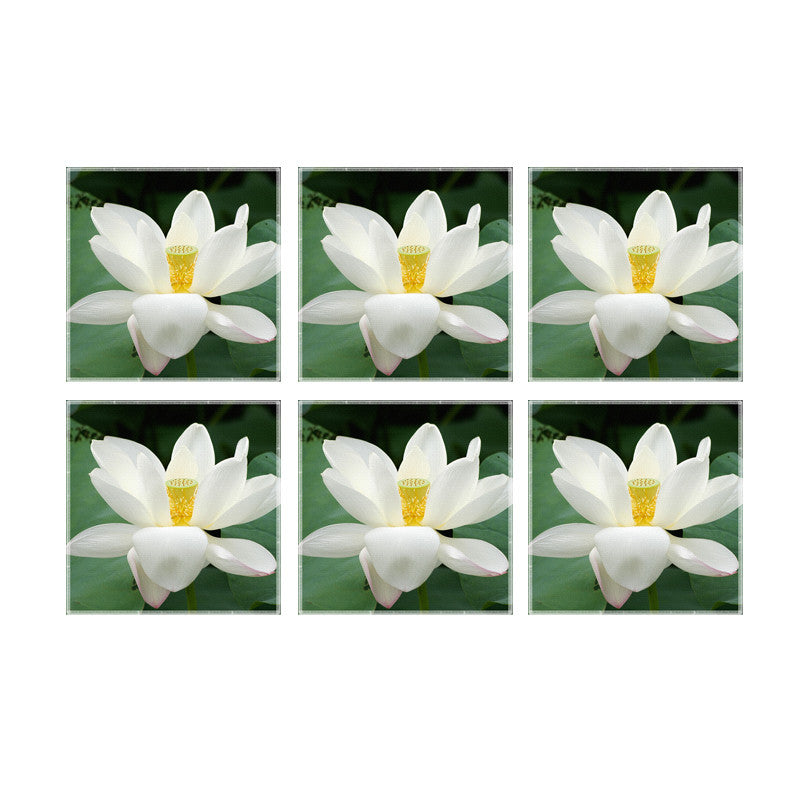 Leaf Designs White Green Coaster - Set Of 6