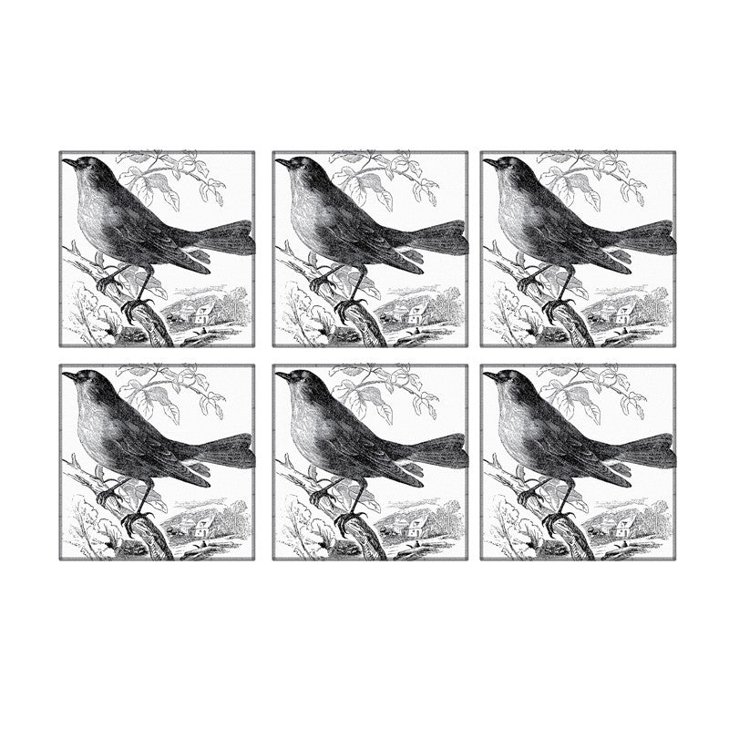 Leaf Designs Black And White Bird Coaster (C)- Set Of 6