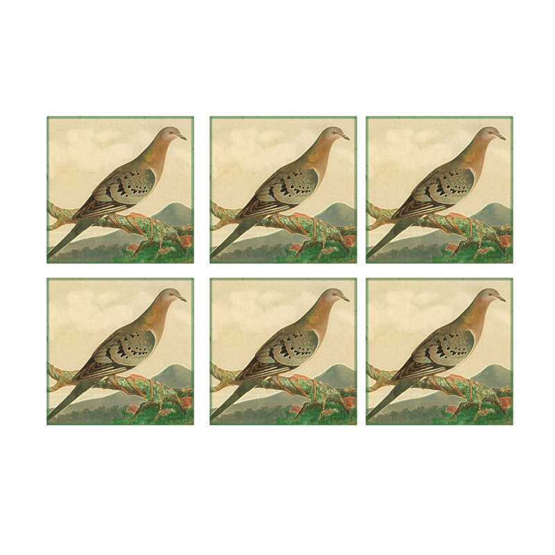 Leaf Designs Fawn Bird Coaster - Set Of 6