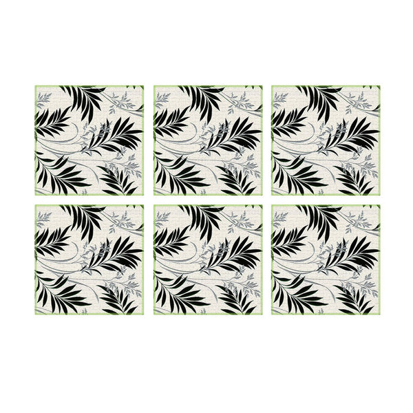 Leaf Designs Black & White Floral Coasters - Set Of 6