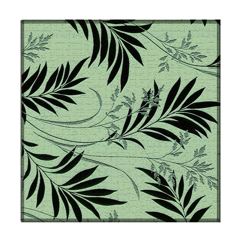 Leaf Designs Black & Green Floral Coasters - Set Of 6