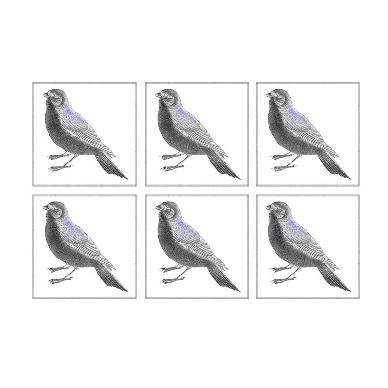 Leaf Designs Black And White Bird Coaster - Set Of 6 ( B )