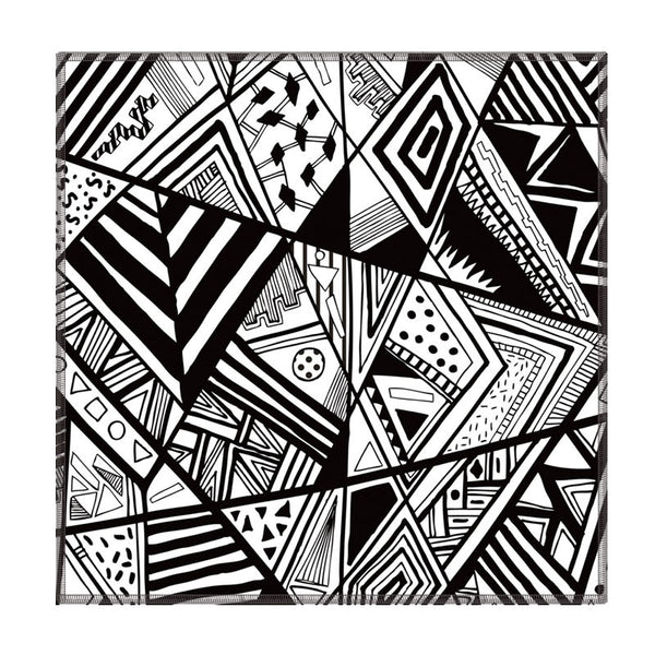 Leaf Designs Black & White Geometric Coasters - Set Of 6