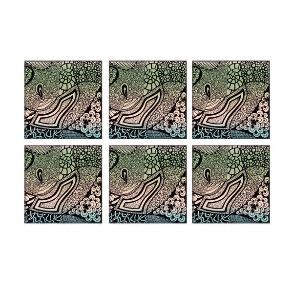 Leaf Designs Green Modern Art Coasters - Set Of 6