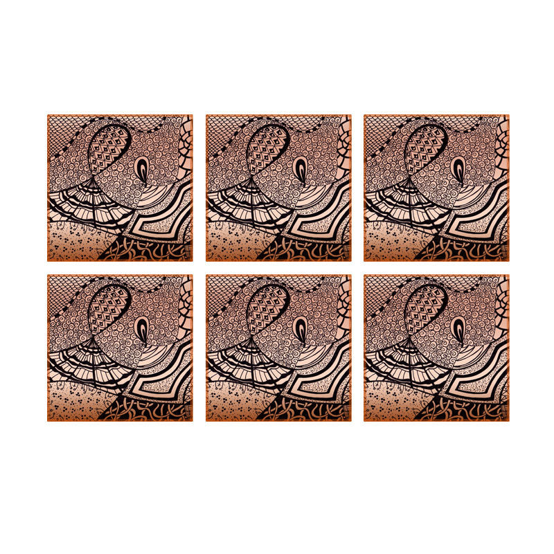 Leaf Designs Brown Modern Art Coasters - Set Of 6