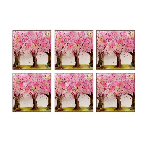 Leaf Designs Multicoloured Tree Coasters - Set Of 6