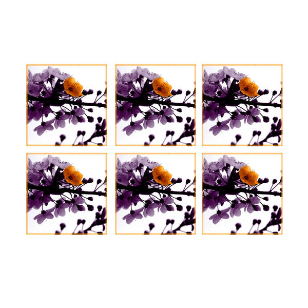 Leaf Designs Multicoloured Blossoms Coasters - Set Of 6
