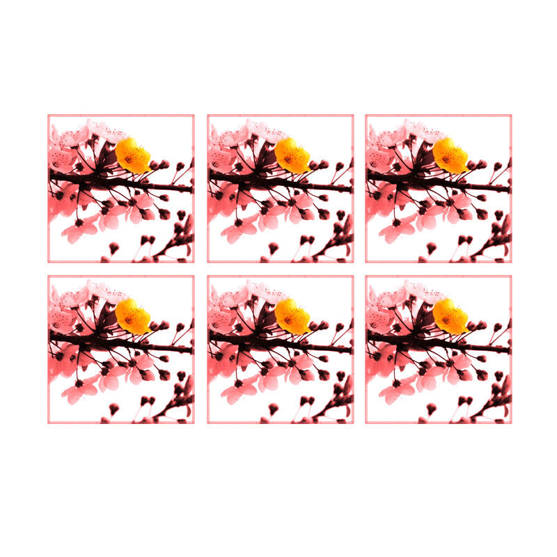 Leaf Designs Peach Blossoms Coasters - Set Of 6