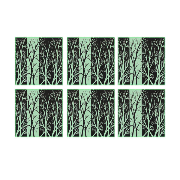 Leaf Designs Black & Green Fields Coasters - Set Of 6