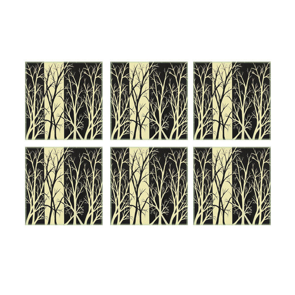 Leaf Designs Black & Yellow Fields Coasters - Set Of 6