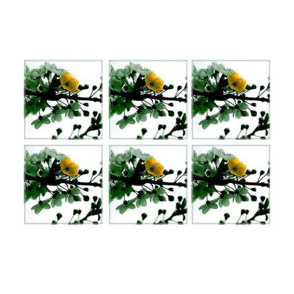 Leaf Designs Green Blossoms Coasters - Set Of 6
