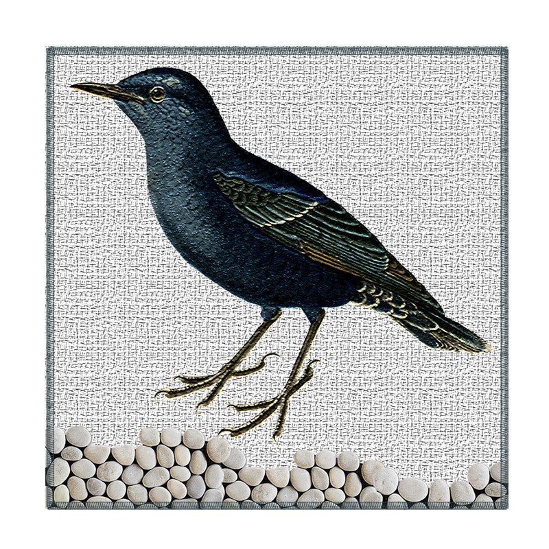 Leaf Designs Textured Black Bird Coaster - Set Of 6
