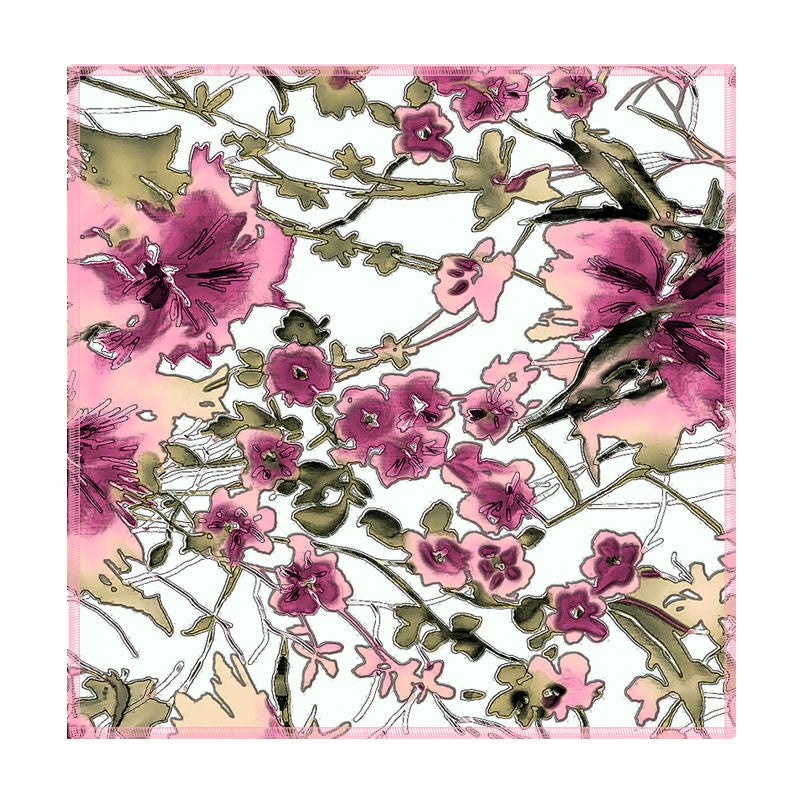 Leaf Designs Ink Outline Pink Floral Coasters - Set Of 6