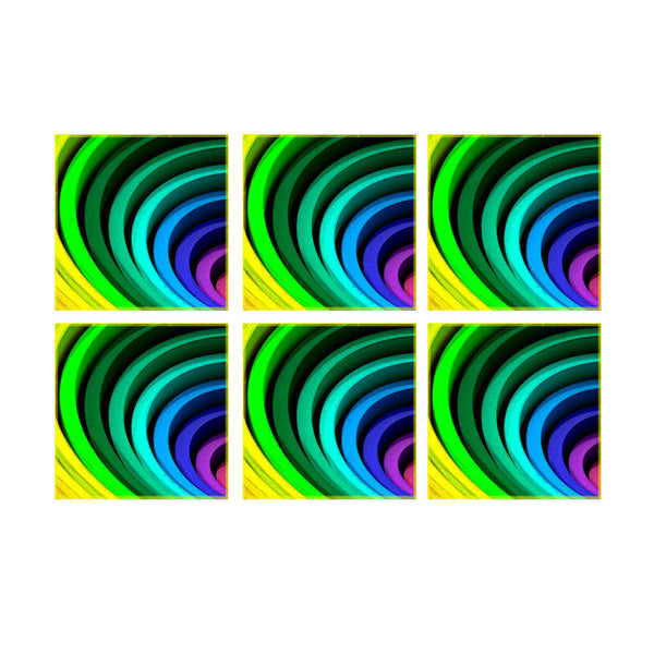 Leaf Designs Multicoloured Spiral Coaster (A) - Set Of 6