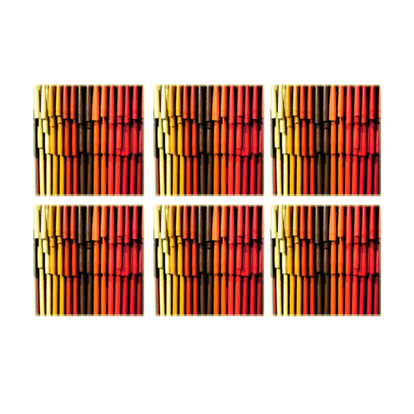 Leaf Designs Multicoloured Bamboo Coaster - Set Of 6
