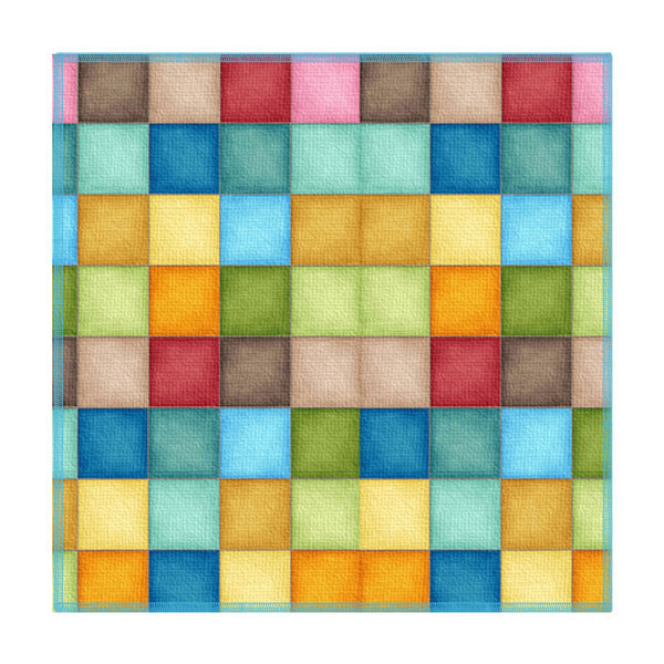 Leaf Designs Multicoloured Checkered Coaster - Set Of 6