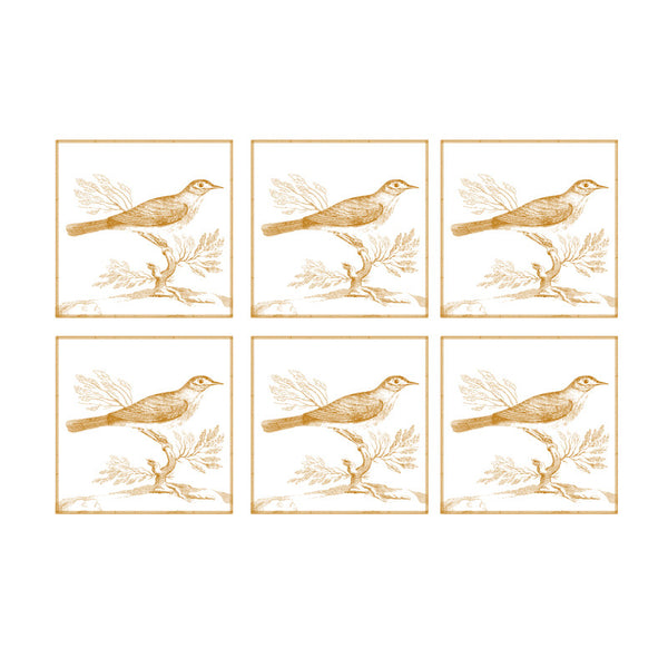Leaf Designs Sepia Bird Coaster - Set Of 6