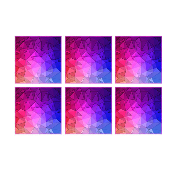 Leaf Designs Multicoloured Diamond Cut Coaster (B) - Set Of 6