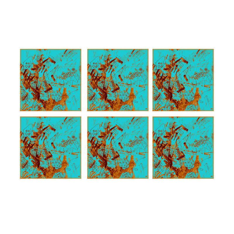Leaf Designs Blue Flat Texture Coaster - Set Of 6