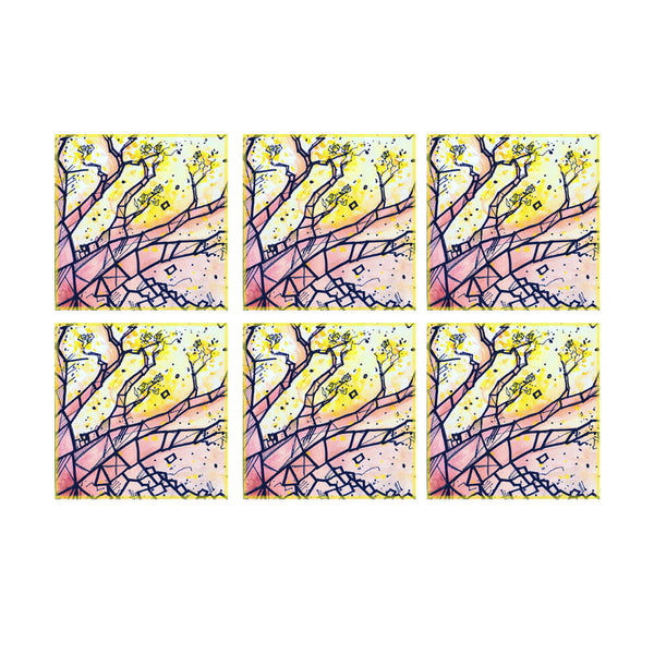 Leaf Designs Multicoloured Tree Coaster (A) - Set Of 6