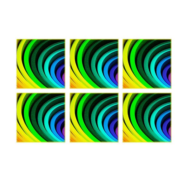 Leaf Designs Multicoloured Spiral Coaster (B) - Set Of 6