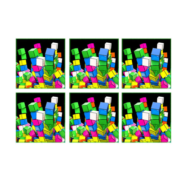 Leaf Designs Multicoloured Blocks Coaster - Set Of 6
