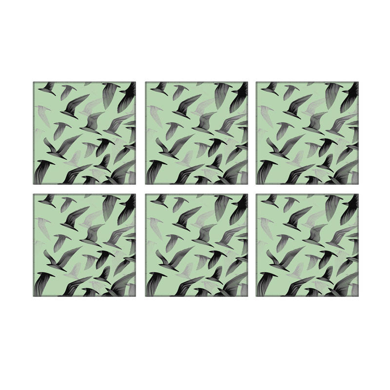 Leaf Designs Green Birds In Flight Coaster - Set Of 6