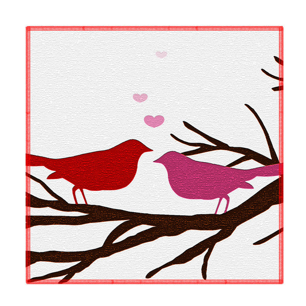 Leaf Designs Red And Pink Birds Coaster - Set Of 6