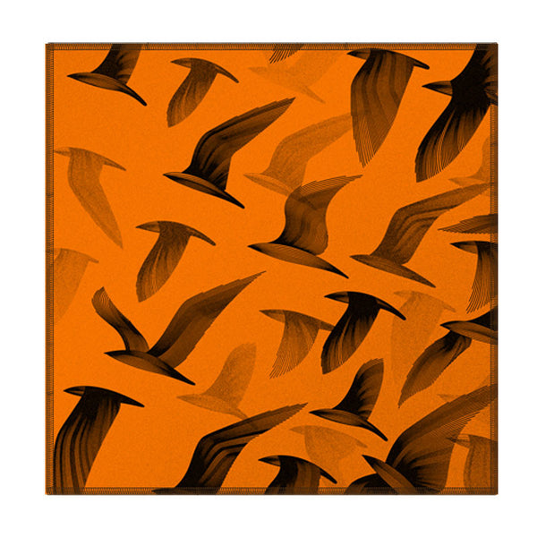 Leaf Designs Orange Birds In Flight Coaster - Set Of 6