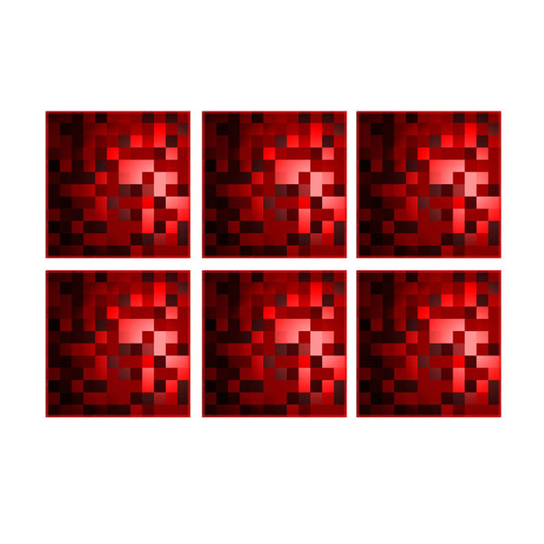Leaf Designs Red Checkered Coaster - Set Of 6