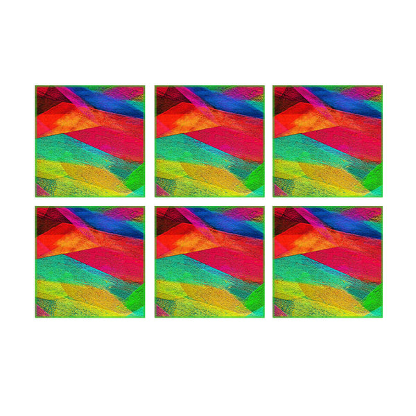 Leaf Designs Multicoloured Waves Coaster - Set Of 6