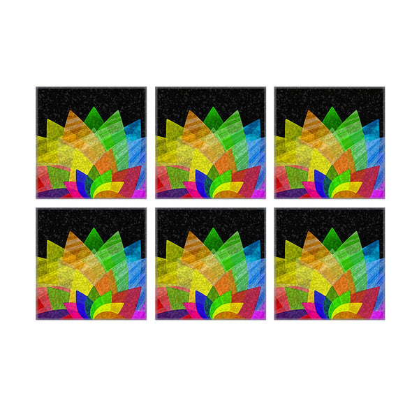 Leaf Designs Multicoloured Lotus On Black Coaster - Set Of 6