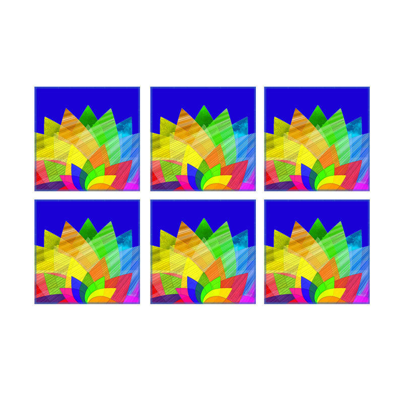 Leaf Designs Multicoloured Lotus On Blue Coaster - Set Of 6
