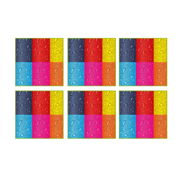 Leaf Designs Multicoloured Rectangles Coaster - Set Of 6