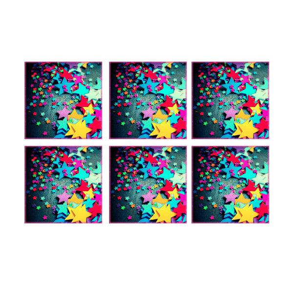 Leaf Designs Multicoloured Stars Coaster - Set Of 6