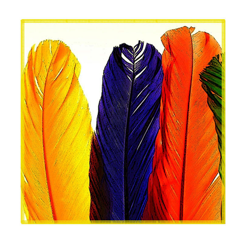 Leaf Designs Multicoloured Feathers Coaster - Set Of 6